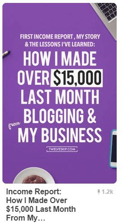 well-designed pin of a blog income report