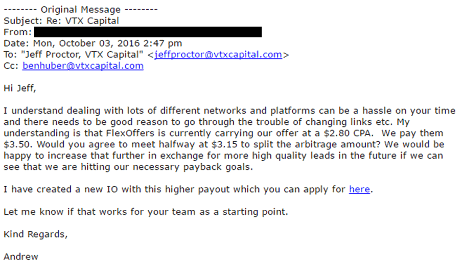 final response from affiliate manager regarding commission increase