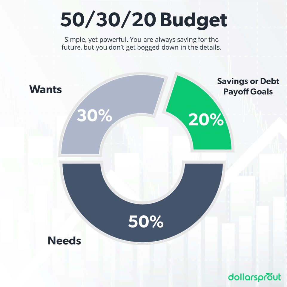 Diagram showing the different spending categories for the 50/30/20 budget