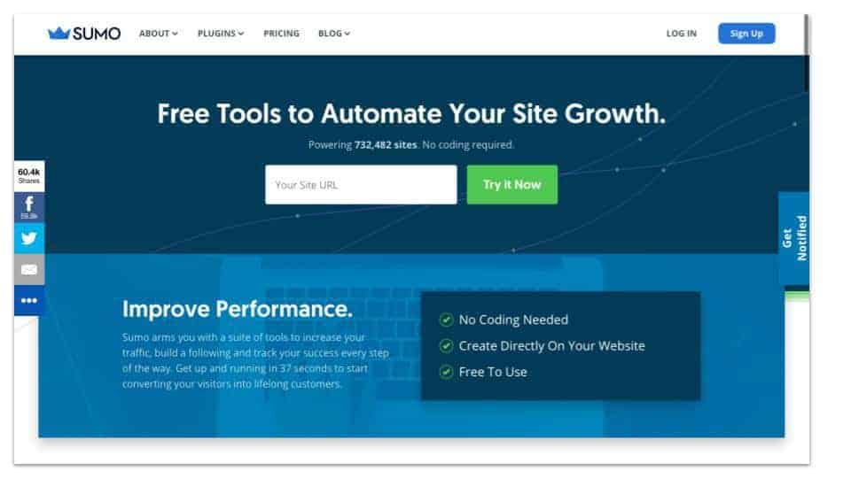 Sumo.com example of a website that has a blog
