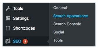 WordPress Dashboard menu SEO to Search Appearance-min