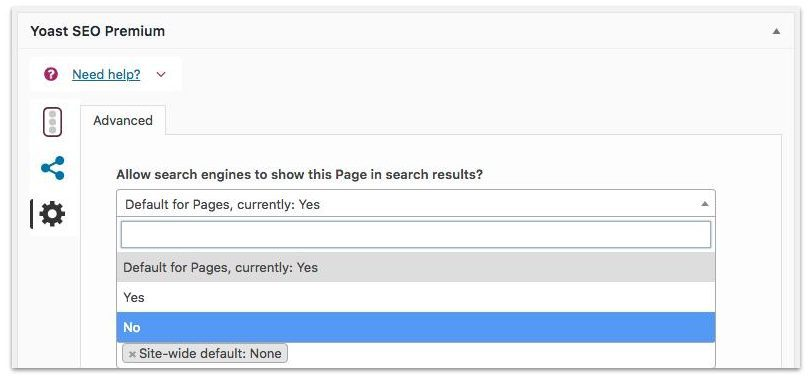 Yoast SEO exclude content from search results-min