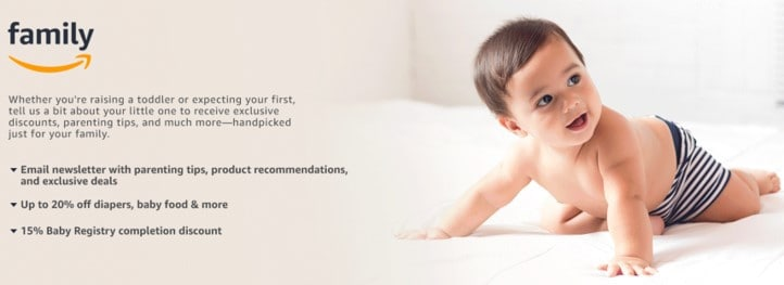 Sign up for Amazon family to get discounts and save money on baby supplies