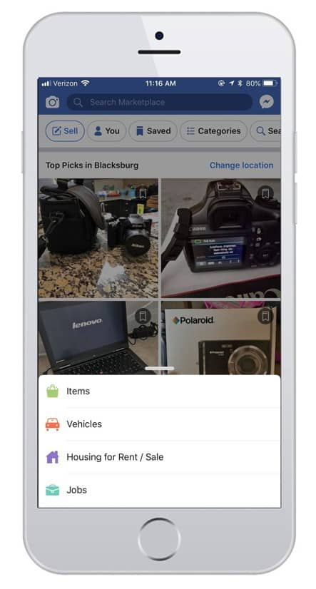 quick sell app: Use the Facebook marketplace to buy and sell stuff locally