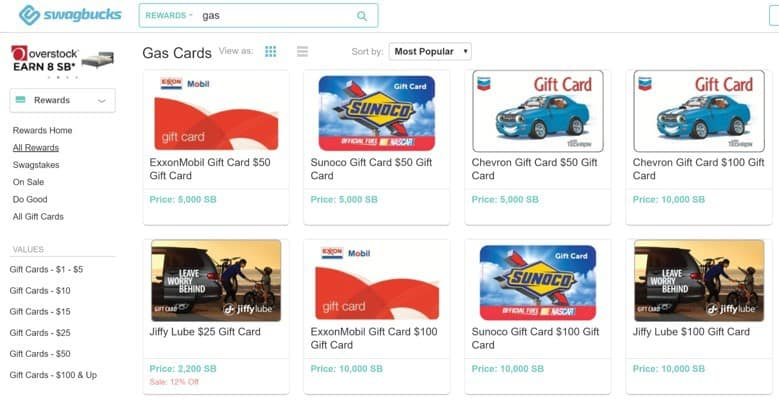 free gas cards from swagbucks