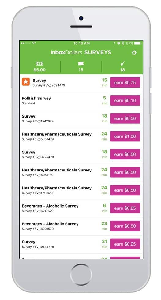 inboxdollars survey app screenshot