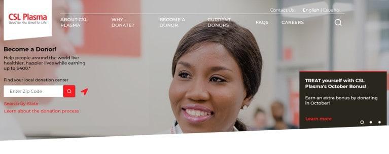 CSL Plasma homepage