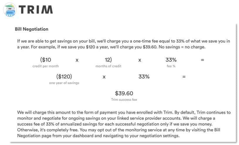 How Trim charges for their bill negotiation service