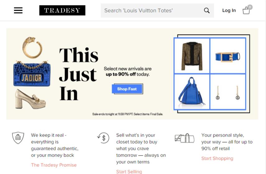 Tradesy website for selling wedding dresses online