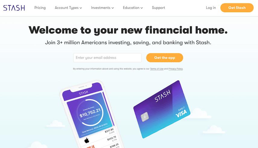 Stash app homepage