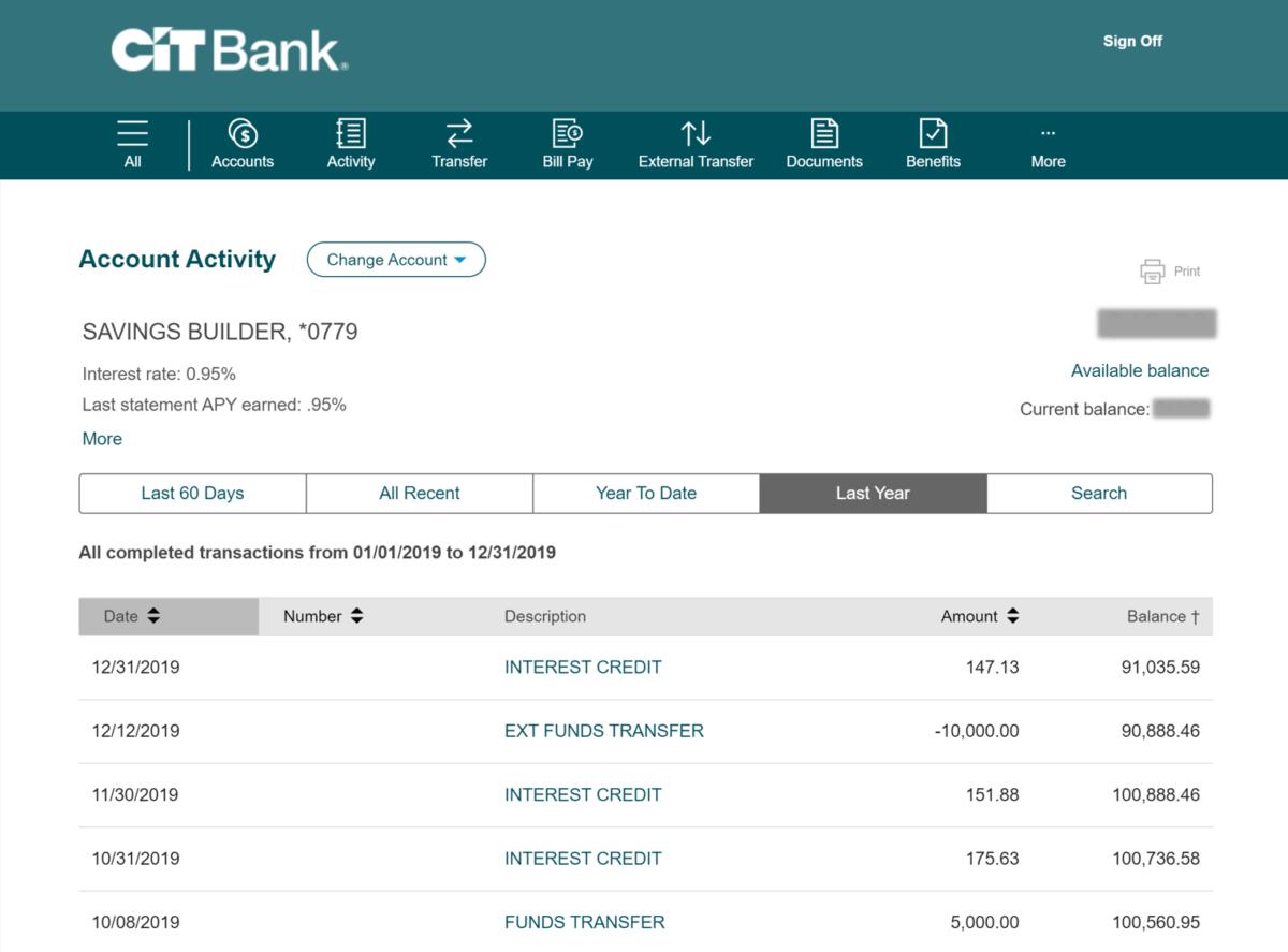 cit bank savings builder account dashboard