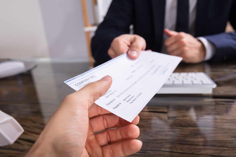 person cashing a check
