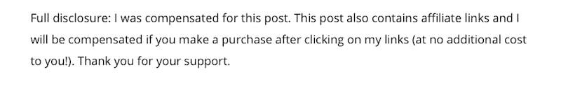 Sponsored Post Disclosure