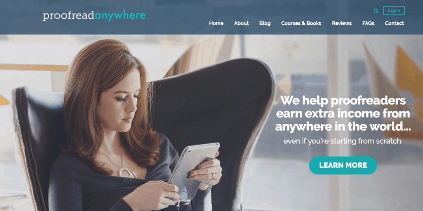 woman working on a proofread anywhere course