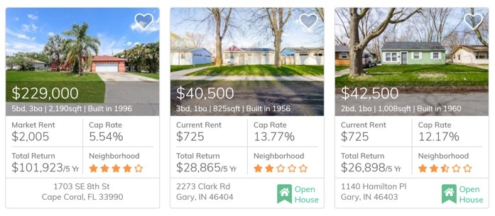 Homes for sale on Roofstock