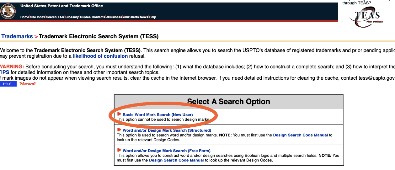 trademark electronic search system