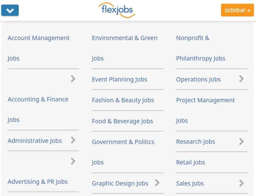 Types of jobs available on FlexJobs