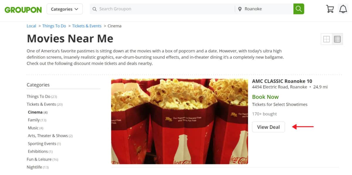 groupon movie deals section