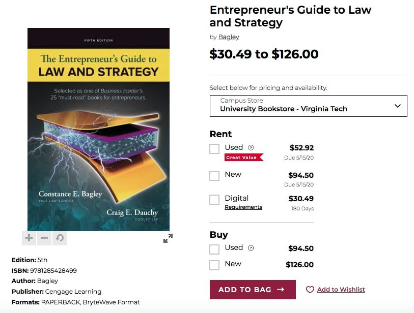The Entrepreneur's Guide to Law and Strategy Bookstore Price