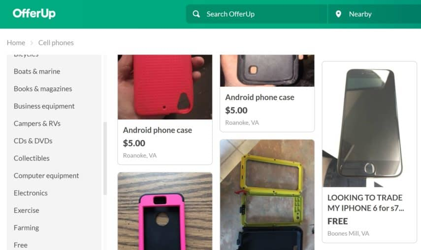 OfferUp cell phone section