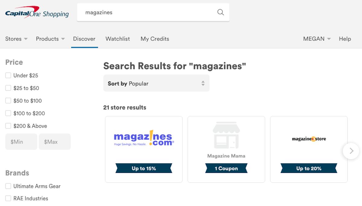 CapitalOne Shopping Magazines