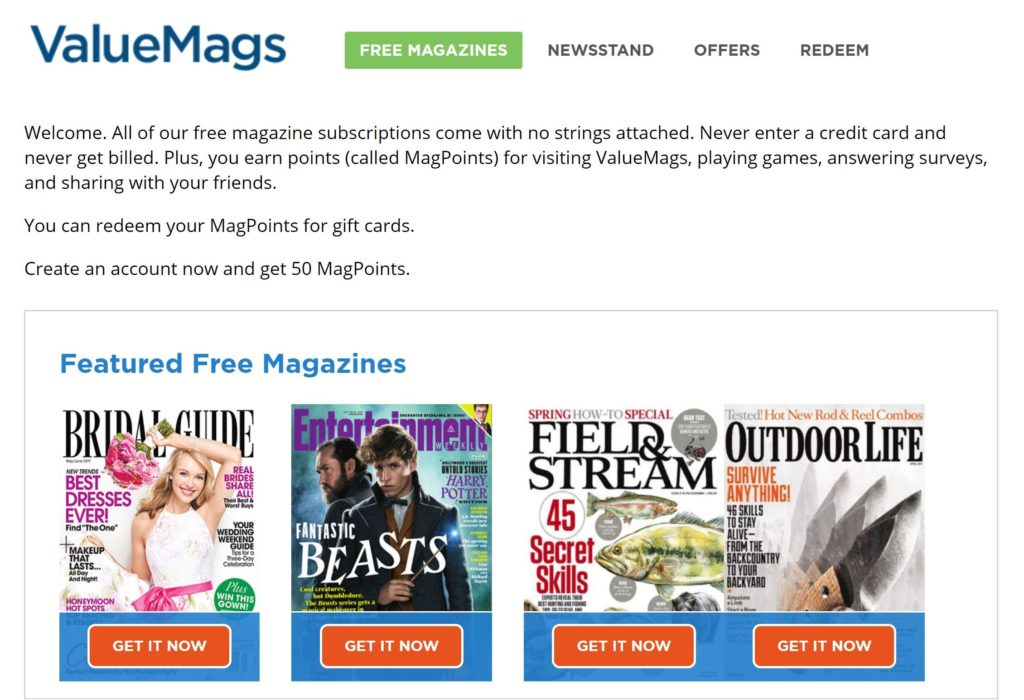 valuemags featured free magazine section
