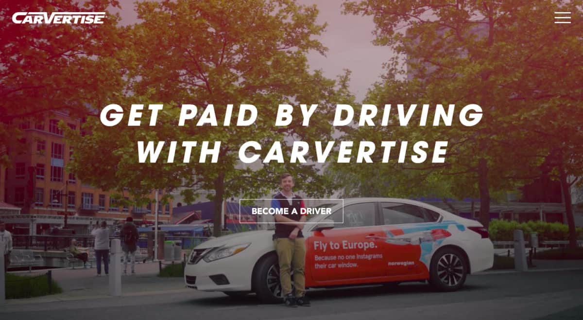 get paid by driving with Carvertise