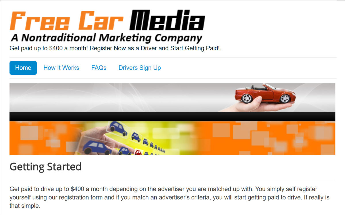 Free Car Media pays users up to $400 per month to place ads on their vehicles