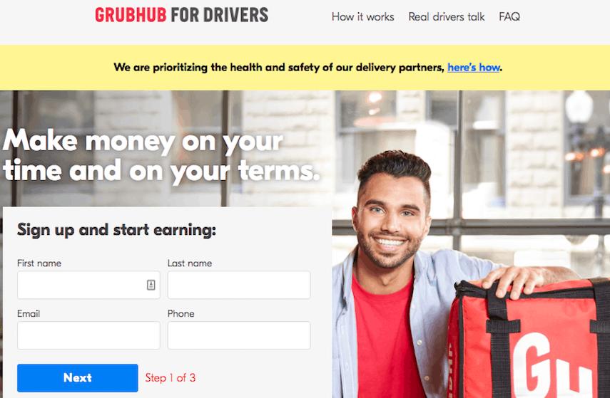 GrubHub Homepage