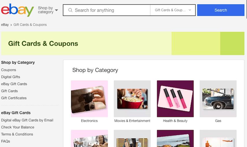 eBay Gift Cards Screen