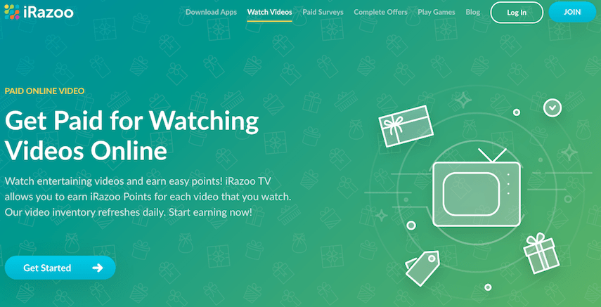 iRazoo Get Paid to Watch Videos Page