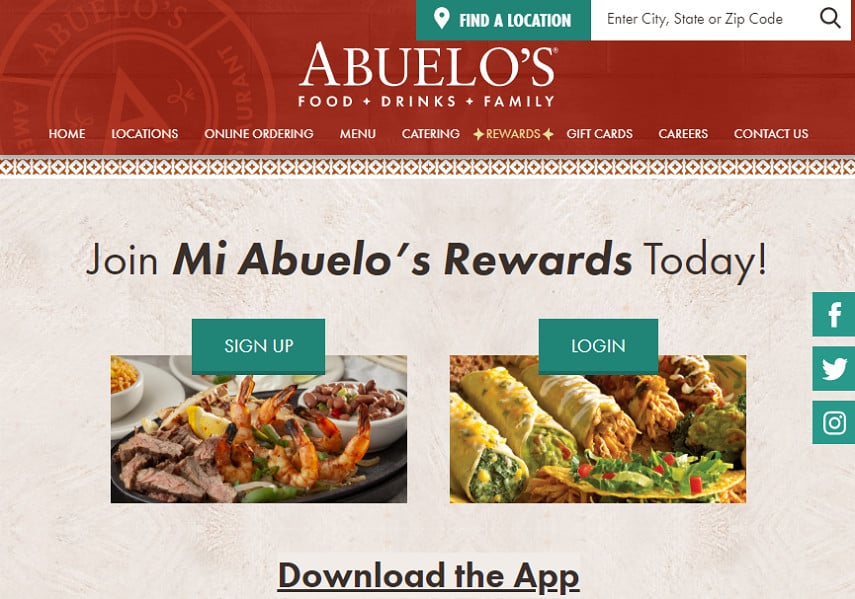 Abuelo's rewards program