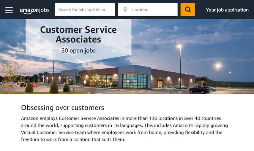 Amazon customer service associated page