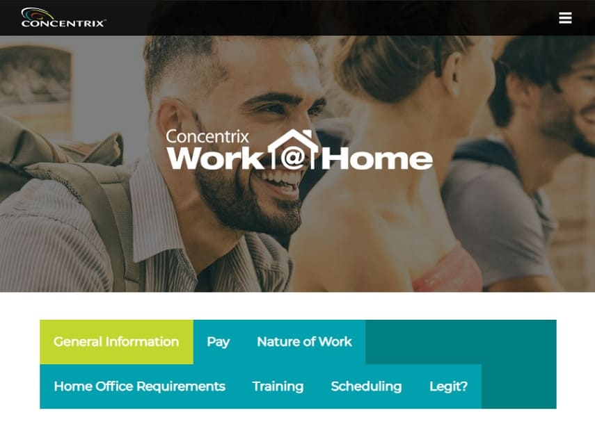 Concentrix work from home jobs page