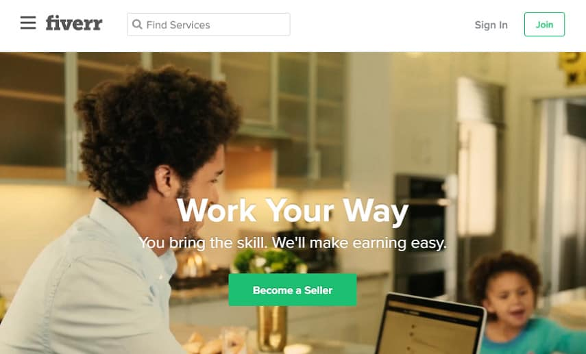 Fiverr become a seller page