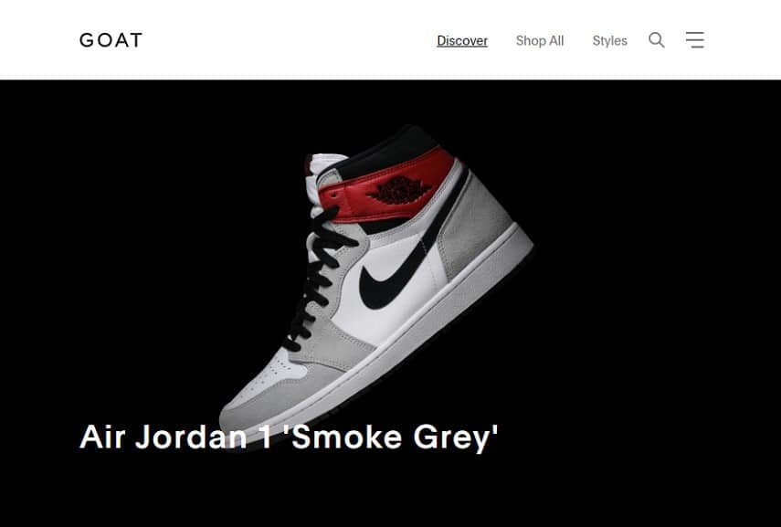 GOAT homepage
