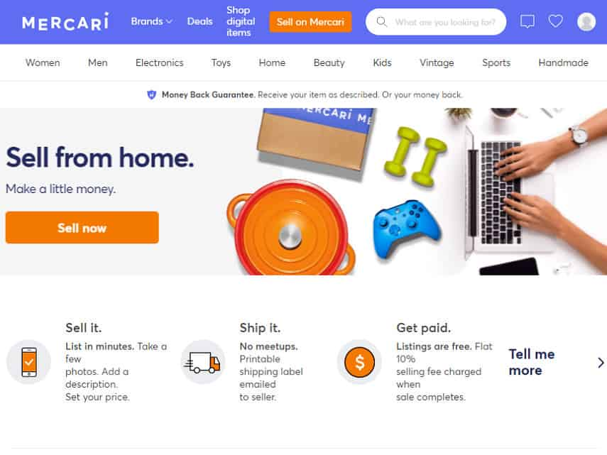 Mercari homepage