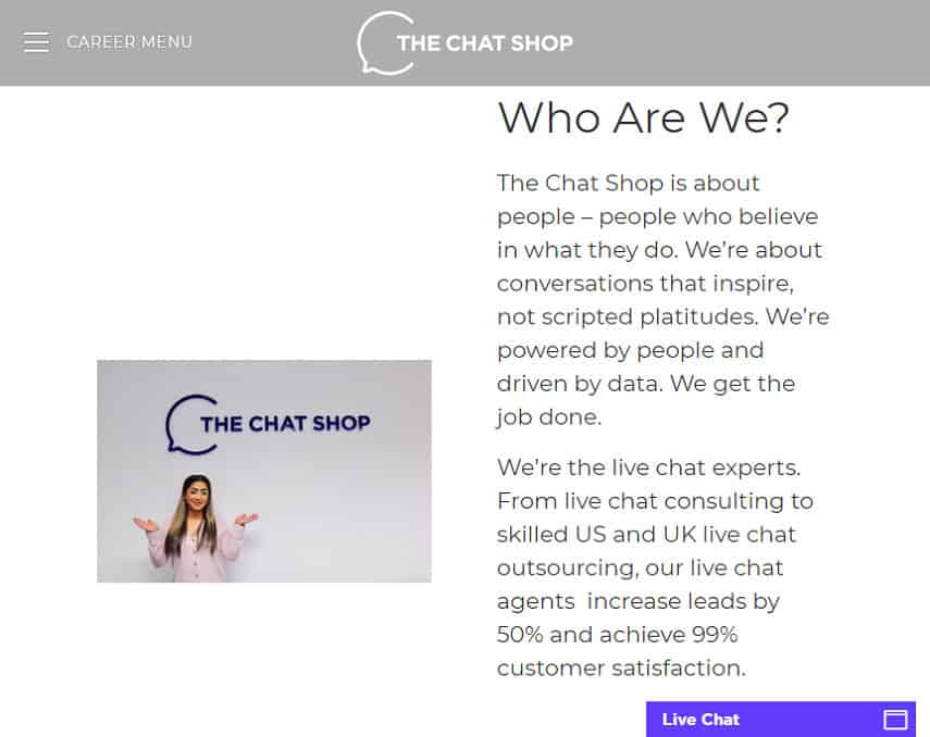 The Chat Shop careers page