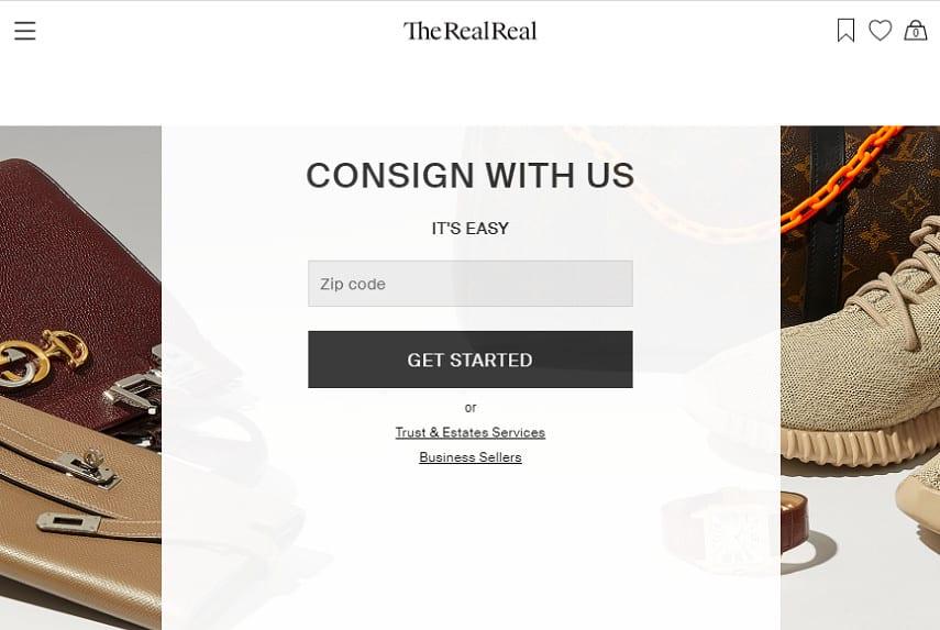 TheRealReal homepage