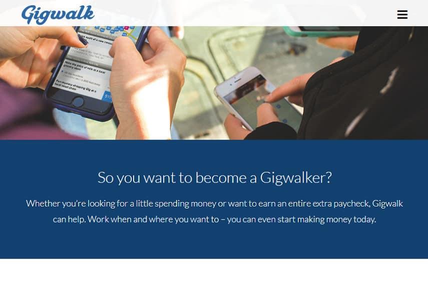 Gigwalk homepage