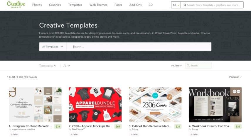 templates screenshot