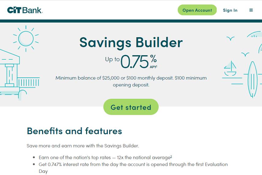 CIT Bank Savings Builder homepage