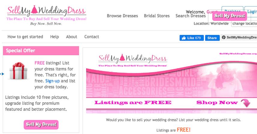 Sell My Wedding Dress Homepage