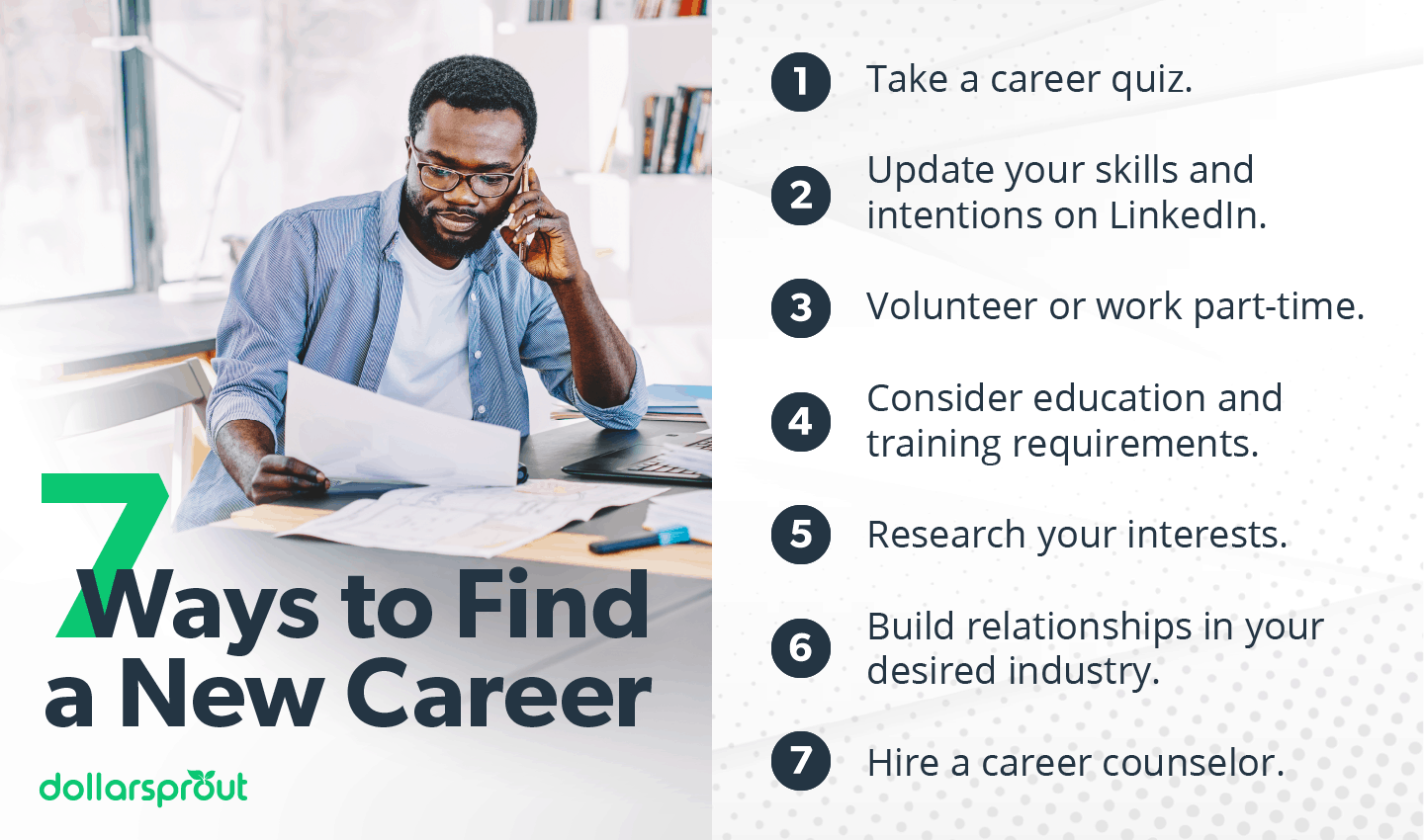 7 ways to find a new career infographic