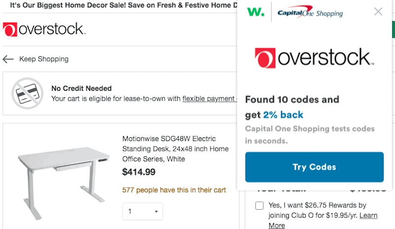 CapitalOne Shopping Coupon Codes on Overstock