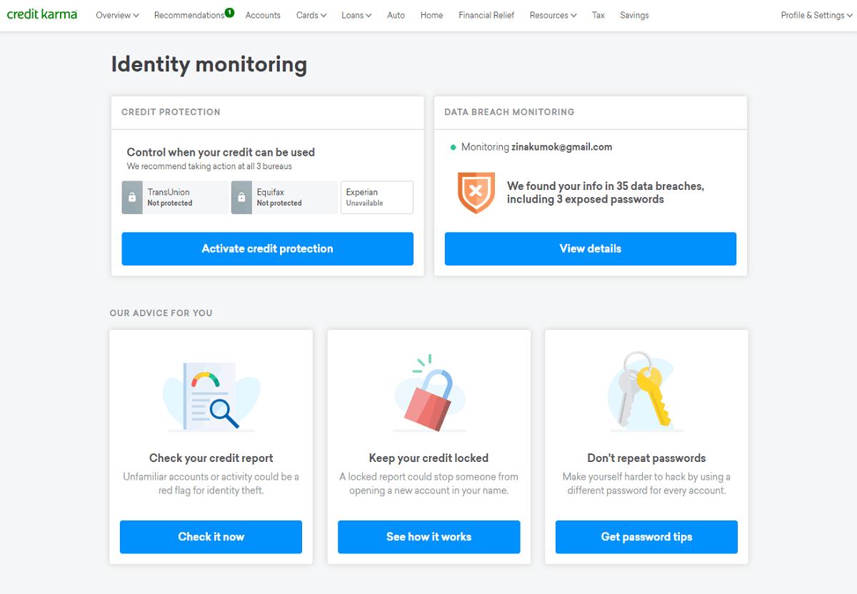 CreditKarma identity monitoring