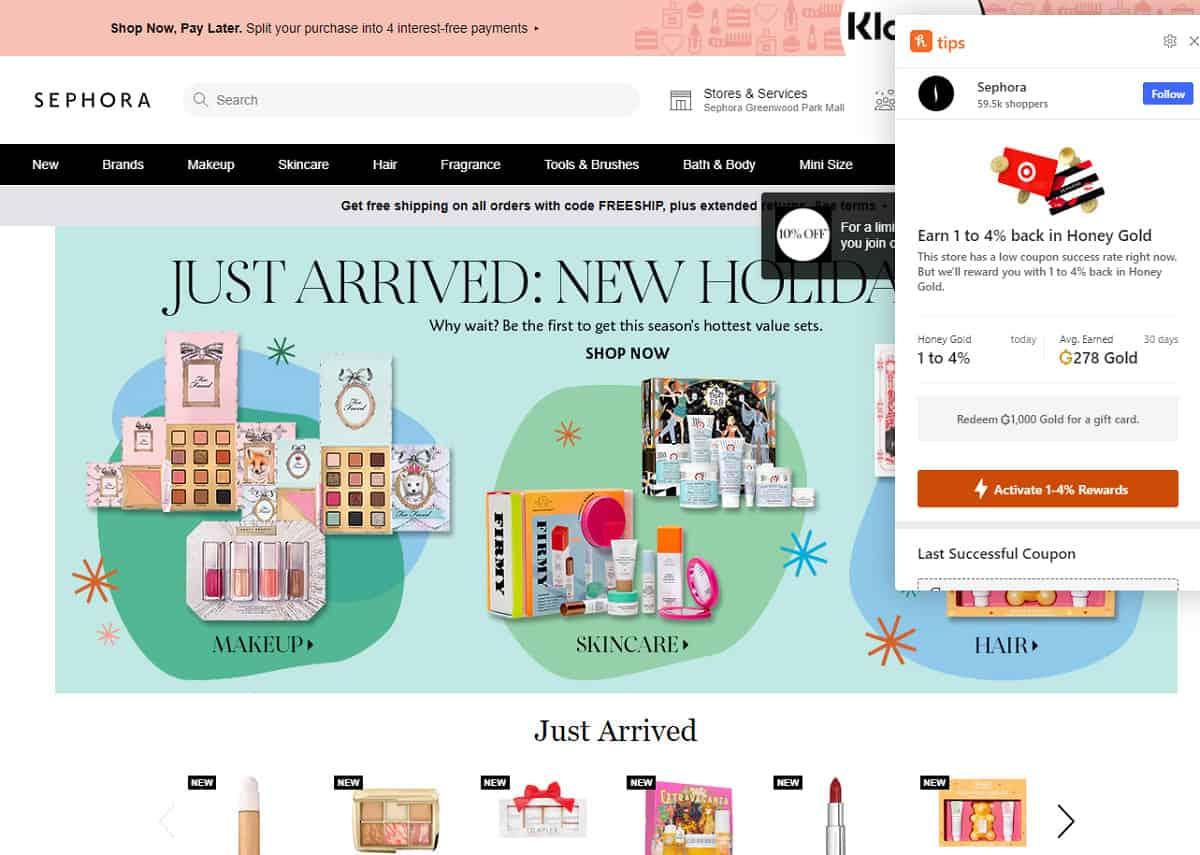 Honey chrome extension Sephora website