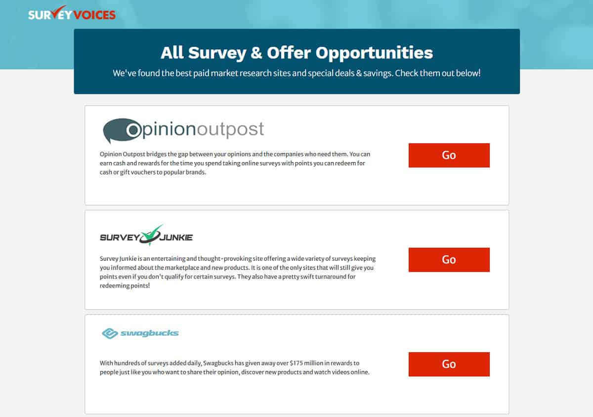 Survey Voices opportunities page