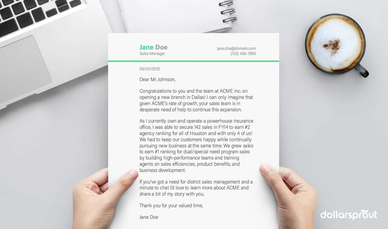 cover letter sample mockup