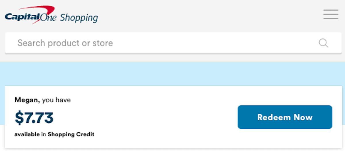 CapitalOne Shopping Account Balance
